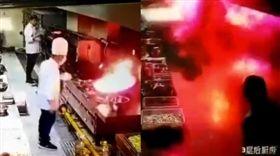 大廚搶救油鍋反釀「大爆炸」把餐廳燒了(圖/翻攝自秒拍)