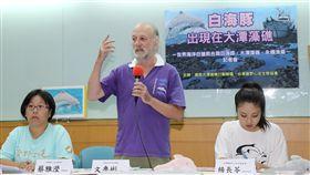 白海豚現蹤大潭藻礁 環團籲三接停工重啟環評搶救大潭藻礁行動聯盟、台灣蠻野心足生態協會等環保團體6日在台大校友會館舉行記者會表示,在大潭藻礁發現全球僅剩60餘隻、極度瀕危物種台灣白海豚,要求中油第三天然氣接收站停工、重啟環評。中央社記者張皓安攝 108年6月6日