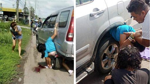 離奇車禍!女「不正常彎曲」卡車輪間(圖/翻攝自Onuma Phetpan臉書)