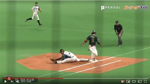 ▲清宮幸太郎守一壘劈腿接球。(圖/翻攝自太平洋聯盟TV)