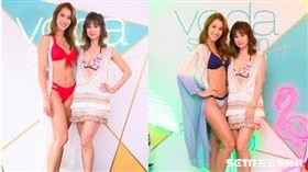 Akemi與主持人李晶晶換上比基尼為品牌展演新品。(圖/Voda Swim提供)