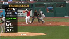 ▲洋基捕手桑契斯(Gary Sanchez)1.9秒抓盜壘。(圖/翻攝自MLB官網)