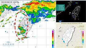 圖:今(10日)晨4:40雷達回波圖(左圖)顯示,台灣北部海面有鋒面附近所形成的帶狀回波,伴隨活躍的閃電(右上圖);西南沿海亦有西南風受地形阻礙產生的回波,4:30雨量圖(右下圖)顯示,西南部及山區有零星降雨。