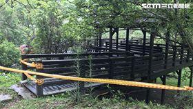 台中青桐林生態園區的木棧道坍掉/SNG趙英光、陳晨鐘、林承運攝