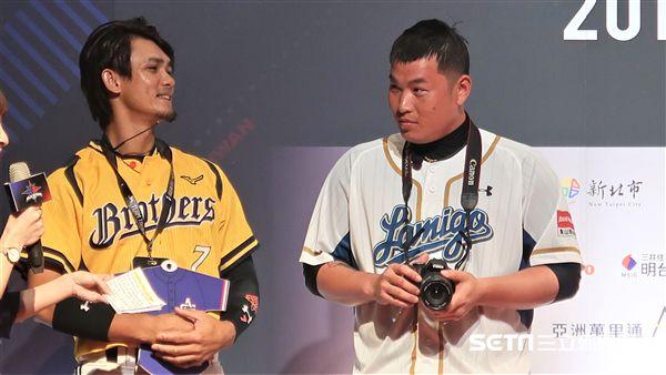 中華職棒明星賽張志豪、林泓育。(圖/記者王怡翔攝影)