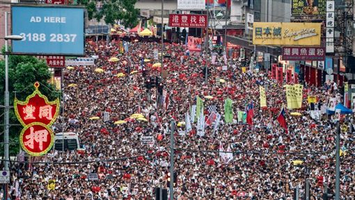 香港百萬人反送中遊行。(圖/翻攝自推特)