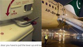 航空公司,廁所,逃生門,救生梯,英國(合成圖/翻攝自omar_quraishi推特;paddleyourownkanoo)