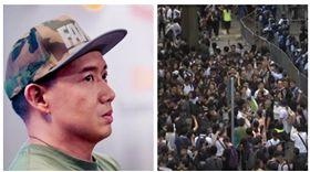 ▲杜汶澤、香港民眾展開「罷工罷市罷課」,聚集在立法會周遭(組合圖,翻攝臉書、AP授權)