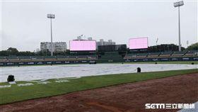 大雨攪局,新莊棒球場積水。(圖/記者劉忠杰攝影)