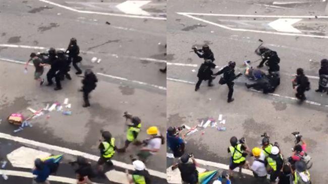卯起來打!數十港警持棍圍毆1抗議民眾 影片曝光嚇壞各界