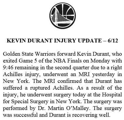 NBA/KD傷情近況 勇士聲明說…NBA,季後賽,金州勇士,Kevin Durant,受傷,阿基里斯腱,手術翻攝自推特