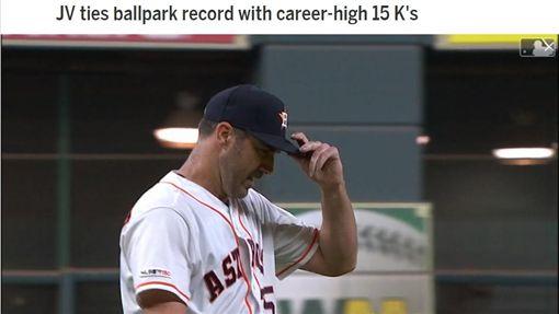▲韋蘭德(Justin Verlander)飆出生涯新高單場15K。(圖/翻攝自MLB官網)