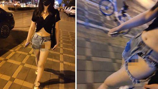 夏天快到了!不少女性會穿牛仔短褲出門秀美腿。不過越南一名女子相當前衛,竟在褲子左邊「挖大洞」,導致她的神秘三角洲若隱若現,只要動作稍微大一些,就可能會走光。照片曝光後,掀起網友熱議,紛紛直喊:「比真理褲更兇!」(圖/翻攝自微博)
