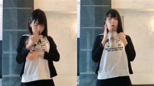珍奶,日本,推特,挑戰,手放しタピオカ,放手,水月桃子 圖/翻攝自推特