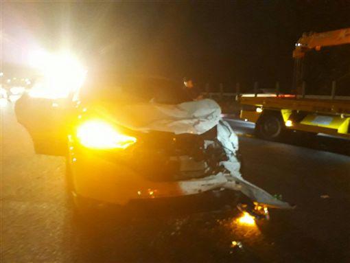 北二高,國道3號,苗栗,車禍,追撞。翻攝畫面