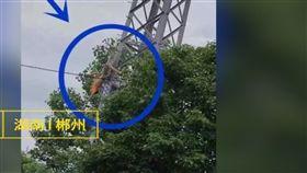 高壓電塔,觸電,端午連假,大陸 圖/翻攝自梨視頻