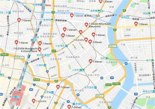 日本711超商密度(圖/翻攝自Google Map)