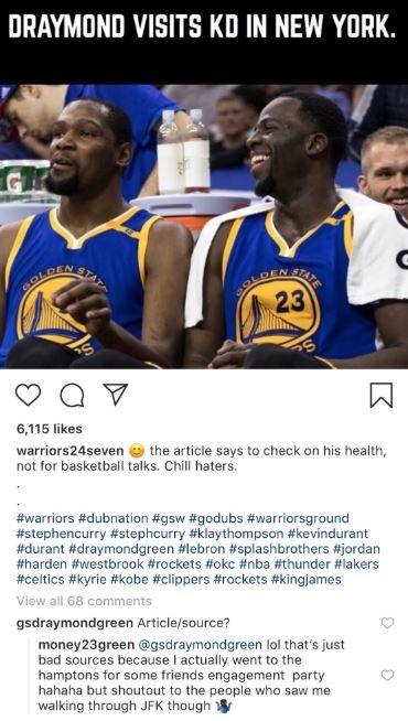 NBA/探望KD假新聞!格林親證實NBA,金州勇士,Kevin Durant,受傷,Draymond Green翻攝自推特