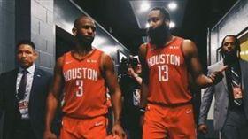 NBA/傳與哈登不和!保羅打臉報導 NBA,休士頓火箭,James Harden,Chris Paul 翻攝自推特