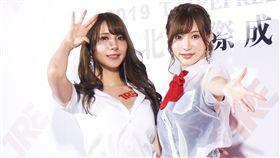 AV女優園田美櫻與天使萌搶先宣傳「TRE台北國際成人展」。(圖/記者蕭翰弦攝影)