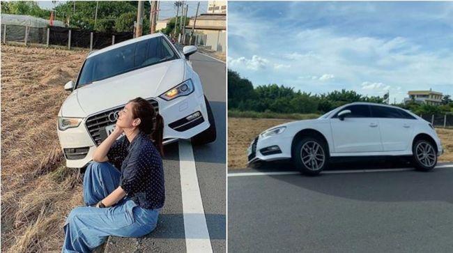 奧迪正妹為閃三寶「犁田」!正能量拍「車模照」被網狂讚