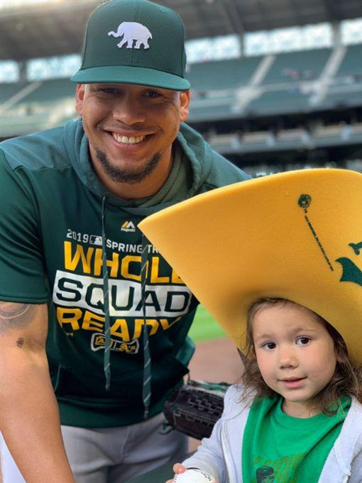 ▲Frankie Montas與他的女兒。(圖/取自推特)