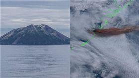 雷公計島,日本,火山, 噴發(合成圖/翻攝自推特;維基百科)