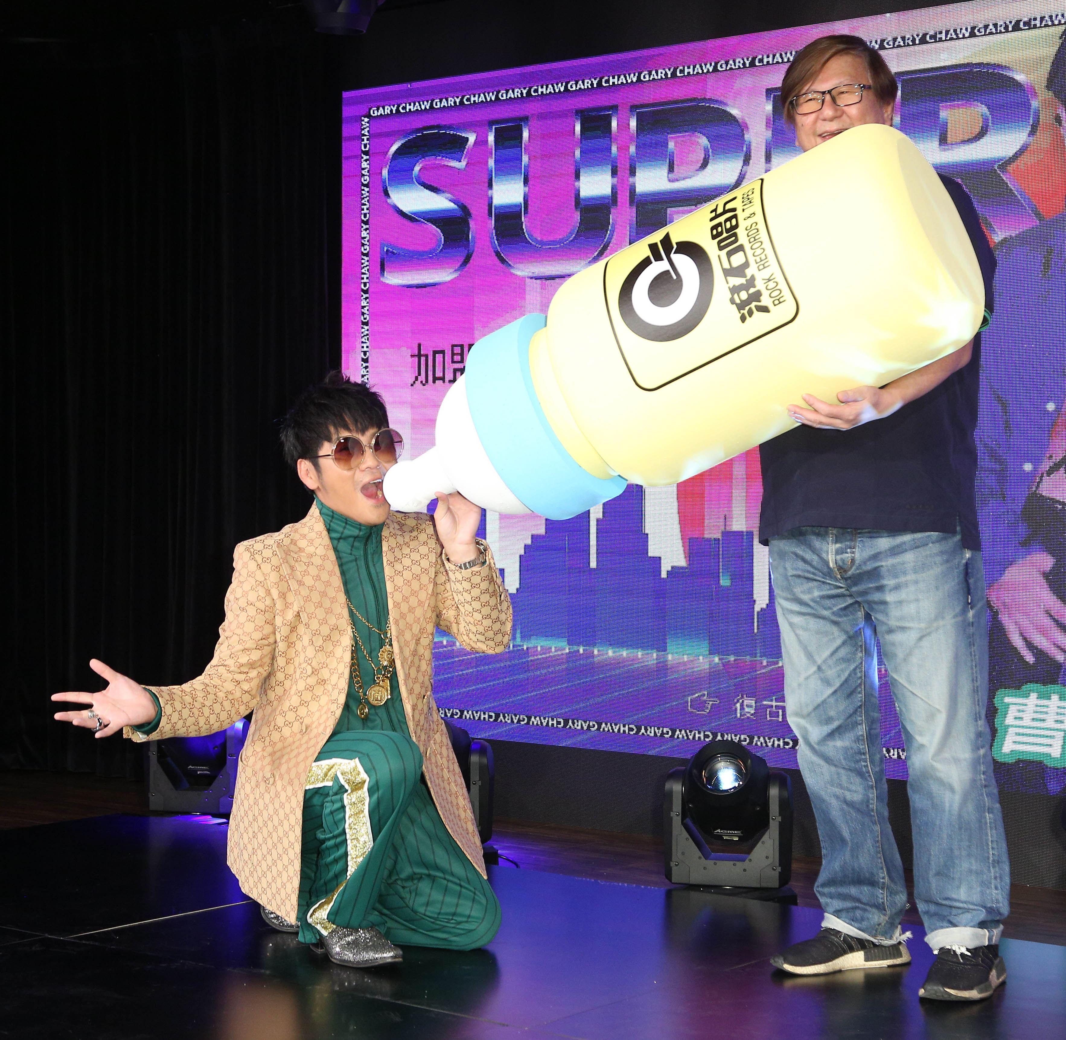 曹格以全新身分「曹小格」推出全新創作專輯「曹小格Super Junior」,滾石段鍾潭總經理現身力挺。(記者林士傑/攝影)