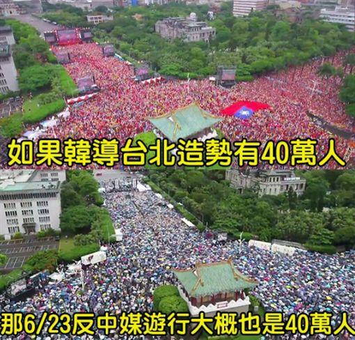 韓國瑜凱道造勢40萬 反中媒遊行多少?一張圖曝真相(圖/翻攝自只是堵藍臉書) ID-1984713