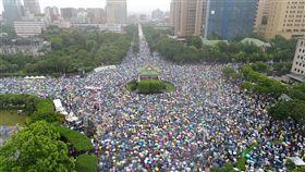 反中媒遊行多少人潮爆炸 驚人空拍照曝光、凱道(圖/網友提供)