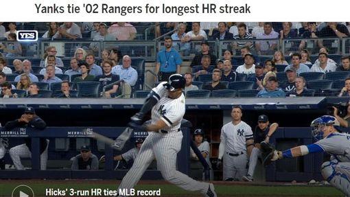 ▲希克斯(Aaron Hicks)敲出逆轉3分砲,洋基連27敞開轟追平大聯盟紀錄。(圖/翻攝自MLB官網)