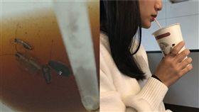 早餐店紅茶出現蟑螂。(組何圖/翻攝自爆怨公社、記者顏敏翔攝影)