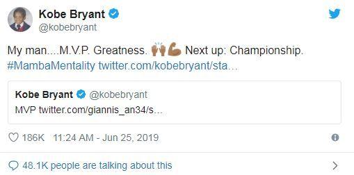 NBA/MVP達成!柯比再激字母哥NBA,密爾瓦基公鹿,Giannis Antetokounmpo,年度MVP,Kobe Bryant翻攝自推特