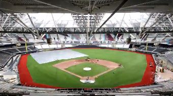 ▲倫敦運動場改建為棒球場以迎接大聯盟首度歐洲季賽。(圖/取自推特)