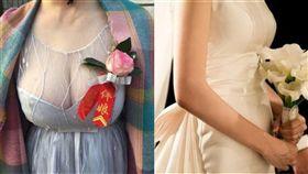 (圖/翻攝自微博、Pixabay)伴娘,胸花,雪乳