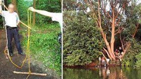 英男盪鞦韆過河手臂慘被粗繩纏斷。(圖/翻攝自推特)