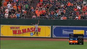 ▲印地安人中外野手莫卡多(Oscar Mercado)沒收全壘打。(圖/翻攝自MLB官網)