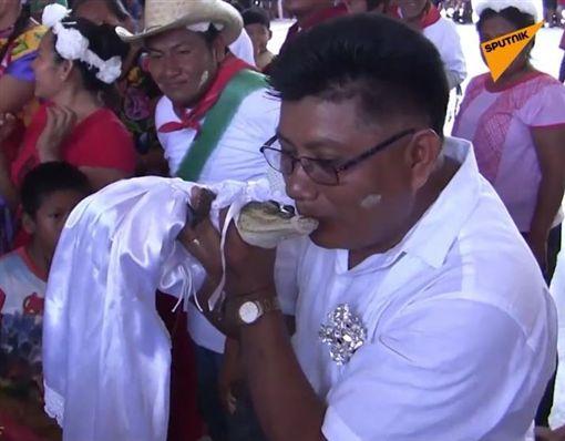 墨西哥/鎮長「誓言之吻」白紗新娘…對象竟是一隻鱷魚 圖翻攝自sputniknews ig