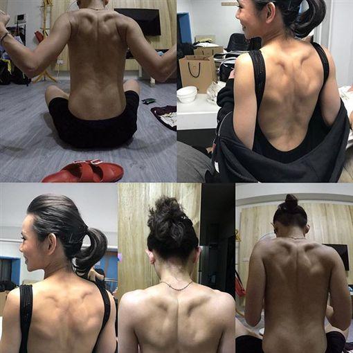 ▲戴資穎背部全裸秀肌肉。(圖/翻攝自戴資穎IG)