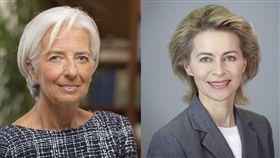 歐洲理事會已就歐盟機構未來領導階層達成協議,提名國際貨幣基金總裁拉加德(左)擔任歐洲中央銀行總裁、德國國防部長范德賴恩(右)接掌歐盟執行委員會主席。(圖/翻攝自Christine Lagarde臉書、維基百科)
