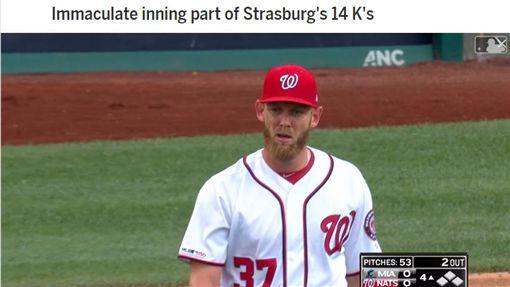 ▲『天才小史』史特拉斯堡(Stephen Strasburg)7/4對馬林魚單場14K,還投出9球3K「完美一局」。(圖/翻攝自MLB官網)