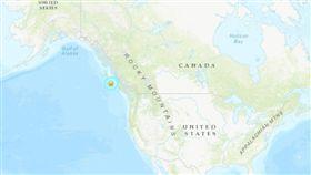 加拿大溫哥華島西北部4日發生規模6.5地震。(圖/翻攝自美國地質調查所網頁)
