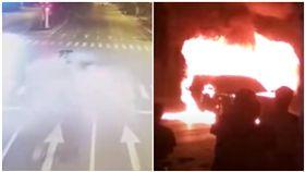 瑪莎拉蒂撞BMW!爆炸燒成火球 釀2死(圖/翻攝自微博)