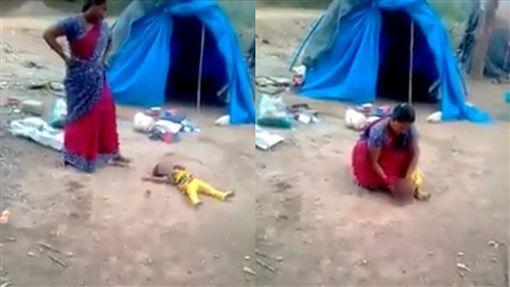 虐童,印度,媽媽,壓制,折手,重摔,哭鬧,吵鬧,母親,憤怒 圖/翻攝自臉書