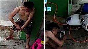 驚悚!洗機車「水槍漏電」30秒  他搏命自救畫面曝光(圖/翻攝自電網頭條微博)