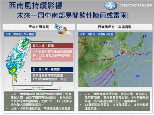 吳德榮,一周天氣,雷雨,午後,高溫(圖/翻攝自中央氣象局臉書)