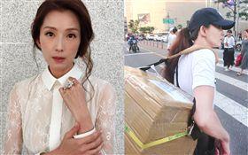 葉全真背著商品走在首爾街頭。(圖/數位直播提供、番攝自臉書)