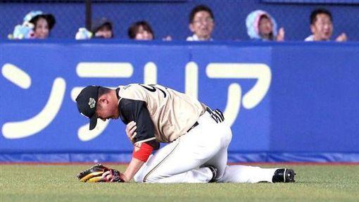 ▲王柏融撲接飛球傷到右肩。(圖/翻攝自推特)