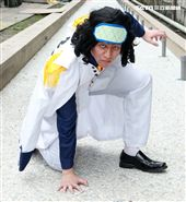 ONE PIECE動畫二十週年紀念特展漫畫裡人物COSPLAY青雉.庫山。(記者邱榮吉/攝影)