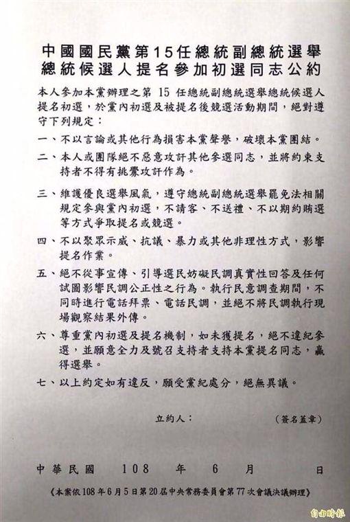 國民黨初選公約(圖/翻攝自黃創夏臉書)
